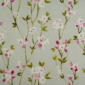 Alicia - Dove - White, dark pink, light grey and olive green coloured 100% cotton fabric, with a stylish, roughly printed floral design