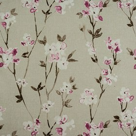 Alicia - Fuchsia - Floral patterned 100% cotton fabric, with a roughly printed, stylish pattern in dark pink, off-white and shades of grey