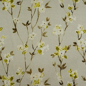 Alicia - Olive - Fabric made from 100% cotton, with a roughly printed floral pattern in lime green, dark brown, light grey and off-white