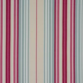 Beachcomber - Sorbet - Purple, violet, duck egg blue, cream and white vertical stripes patterning fabric made entirely from cotton
