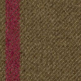 Arundel - Heather - Polyester and cotton blend fabric woven with a thin vertical stripe in dark brown and bright fucshia colours