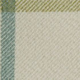 Arundel - Powder Blue - A simple checked design woven into polyester and cotton blend fabric in white, grass green and light dusky blue