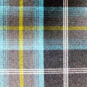 Balmoral - Azure - Bright aqua blue and battleship grey coloured checked fabric made from a blend of polyester and cotton
