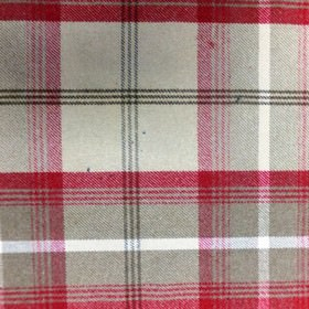 Balmoral - Cranberry - Checked fabric woven from polyester and cotton, with a design in white, midnight blue, light grey and raspberry colou