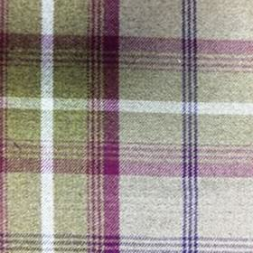 Balmoral - Heather - Checked polyester and cotton blend fabric, woven using colours such as fucshia, dark blue-black, white and creamy grey