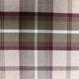 Balmoral - Mulberry - Fabric made in white and dark shades of maroon and grey, woven with a checked design from a blend of polyester and cotto