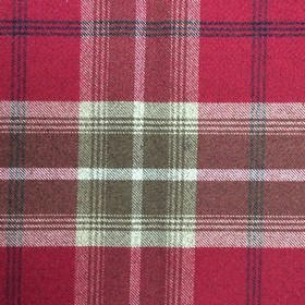 Balmoral - Red - White and battleship grey coloured checked fabric woven from a blend of polyester and cotton