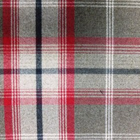 Balmoral - Rosso - Bright red, black, grey and white coloured polyester and cotton blend fabric, woven with a striking checked design