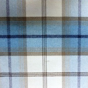 Balmoral - Sky - Fabric made from polyester and cotton with a checked design in sky blue, dark navy blue and light grey colours