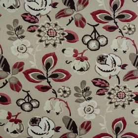 Bohemia - Berry - Blood red, iron grey, black & white large, bold, stylised florals printed on a light grey 100% cotton fabric background