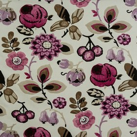 Bohemia - Damson - A pretty floral pattern printed in lavender, black and stone on fabric made from 100% cotton in very pale grey-white