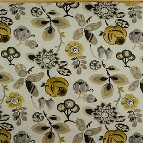 Bohemia - Gold - Off-white 100% cotton fabric printed with pretty stylised florals in dark gold and various shades of black and grey