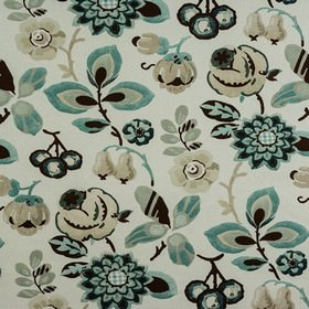 Bohemia - Willow - Fabric made from 100% cotton in white, printed with pretty, stylised florals in black, beige, light grey and duck egg blue
