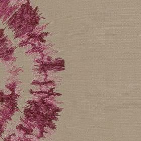 Cadiz - Pink - Stone coloured 100% polyester fabric featuring a roughly printed circular pattern in a deep purple-pink colour