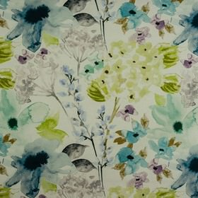 Carmen - Indigo - Lime green, pale blue and white coloured 100% cotton fabric printed with a watercolour effect stylised floral pattern