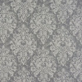 Chateau - Silver - Slightly mottled fabric made from polyester and viscose in two shades of grey, featuring a large, subtle, ornate pattern