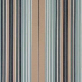 Beachcomber - Harbour Blue - Several different shades of dusky blue as well as caramel and white making up 100% cotton fabric's vertical strip