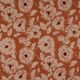 Elena - Burnt Orange - A large ivory and blood red coloured pattern woven into rust coloured polyester, viscose and linen blend fabric