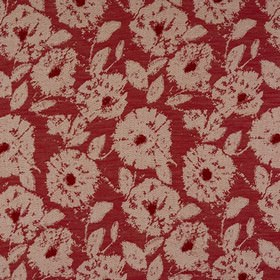 Elena - Cranberry - Burgundy and paper white coloured polyester, viscose and linen blend fabric, woven with a large, roughly circular design