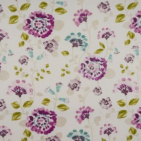 Fiji - Fuchsia - Flowers printed in bright shades of purple with lime green and light grey leaves on white fabric made from 100% cotton