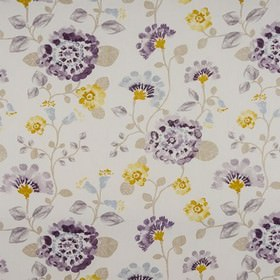 Fiji - Mauve - Beige, white, light grey and dark and pale shades of purple making up an elegant floral design on 100% cotton fabric