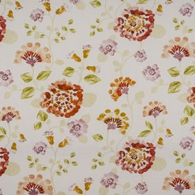 Fiji - Spice - 100% cotton fabric in white, printed with stylish flowers and leaves in cream, mustard yellow, grass green & dark orange