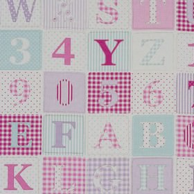 ABC - Pink - Various shades of pink making up a letter and number patterned fabric made from 100% cotton