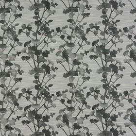 Keiko - Charcoal - Three shades of grey making up a slightly patchily printed, elegant floral design on polyester, cotton and viscose fabric
