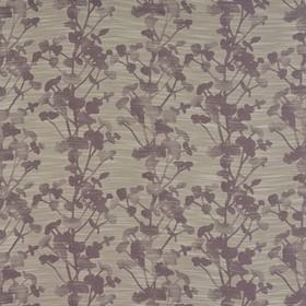 Keiko - Heather - White lines streaking across floral and branch designs on polyester, cotton and viscose fabric in grey and purple shades