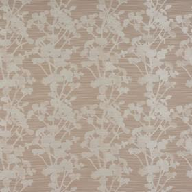 Keiko - Linen - Pale grey and beige polyester, cotton and viscose fabric with simple silhouettes of flowers, behind subtle white streaks