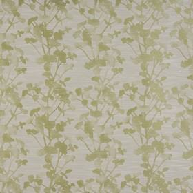 Keiko - Olive - Polyester, cotton and viscose blend fabric made in pale grey and beige, with a patchily printed floral silhouette design