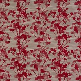 Keiko - Rosso - White streaks printed on scarlet and light grey coloured simple floral silhouettes, on polyester, cotton and viscose fabric
