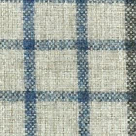 Kintyre FR - Chambray - A simple denim and navy blue coloured check style grid woven into chalk white coloured 100% polyester fabric