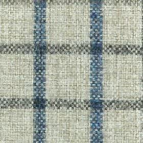 Kintyre FR - Charcoal - Off-white 100% polyester fabric woven with a checked grid made up of denim blue vertical lines and navy horizontal l