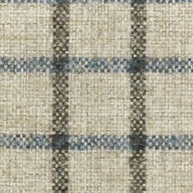 Kintyre FR - Chestnut - 100% polyester fabric woven with a simple check style grid made in pale grey-white, denim blue and battleship grey