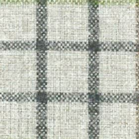 Kintyre FR - Sage - White 100% polyester fabric woven with simple grid style checks in olive green and a dark shade of grey