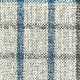 Kintyre FR - Teal - Checked fabric made from 100% polyester, woven with a simple design in off-white, dark grey and denim blue