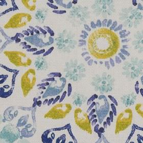 Minerva - Blue - Stylised flowers, circles and leaves in lime green and various shades of blue arranged on white 100% cotton fabric