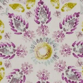 Minerva - Fuchsia - White 100% cotton fabric printed with stylised flowers, circles and leaves in lime green, Royal purple and purple-grey