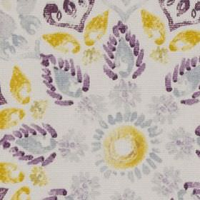 Minerva - Mauve - Dark purple, light grey and mustard yellow coloured stylised flowers, circles and leaves on white 100% cotton fabric