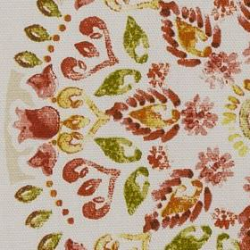 Minerva - Spice - 100% cotton fabric featuring stylised flowers, circles and leaves in white, beige, forest green, blood red and dark orange