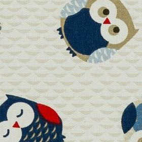 Novelty - Owls Blue - Dark blue, pale blue, red, grey-beige and white owls scattered over subtly patterned pale grey 100% cotton fabric