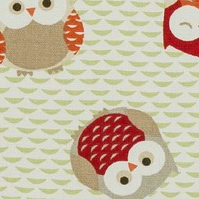 Novelty - Owls Orange - Beige and white coloured 100% cotton fabric, with fun owl designs in grey, beige, light brown, scarlet and bright or