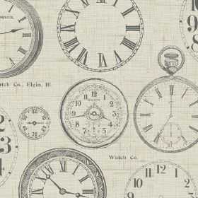 Novelty - Vintage Clocks - Various different light shades of grey making up a vintage style clock and timepiece print on 100% cotton fabric