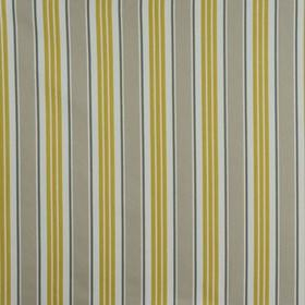 Princeton - Dove Grey - Subtle chevrons and zigzags patterning vertical stripes in mustard yellow and two grey shades on off-white cotton fa
