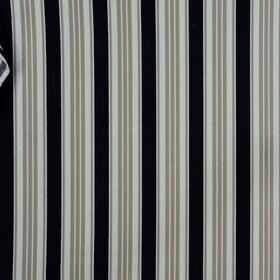 Princeton - Harb Blue - 100% cotton fabric patterned with bold vertical stripes in off-white, dove grey and jet black colours