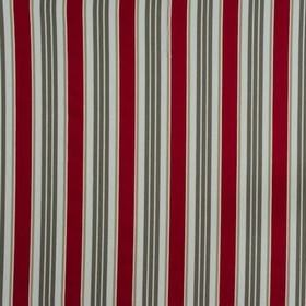 Princeton - Rouge - Fabric made from burgundy, beige, dark grey and off-white 100% cotton, with stripes patterned with chevrons and zigzags