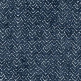 Reno - China Blue - Viscose and polyester blend fabric made in two shades of navy blue, featuring a textured zigzag and chevron design
