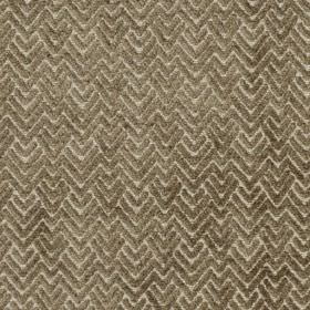 Reno - Earth - Two shades of brown-grey making up a slightly textured zigzag and chevron pattern on viscose and polyester blend fabric