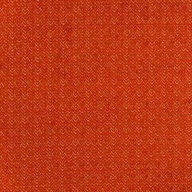 Reno - Orange - Fabric made from viscose and polyester, featuring textured fiery red chevrons and zigzags on a white background